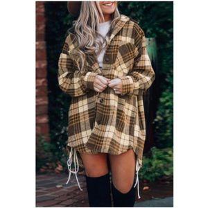Brown Plaid Print Boyfriend  Long Sleeves Shirt Coat Shacket
